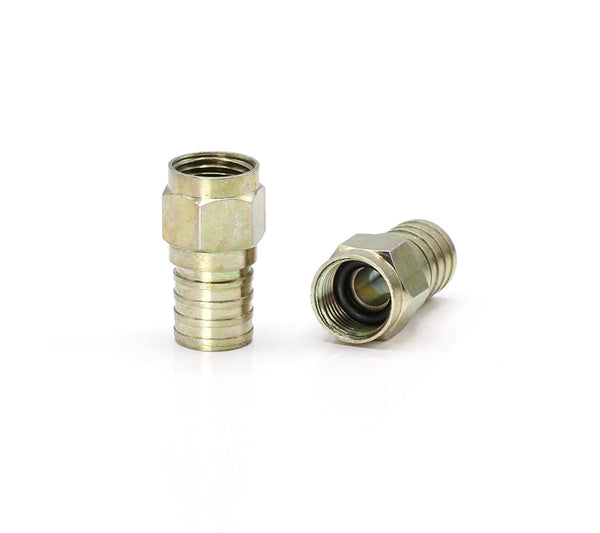 Coaxial Crimp Connector for RG6 Coaxial Cable. Includes O-Ring and Gel for Weather Proofing Seal, Indoor and Outdoor use. Also known as a Radial Compression Connector. Pack of 10