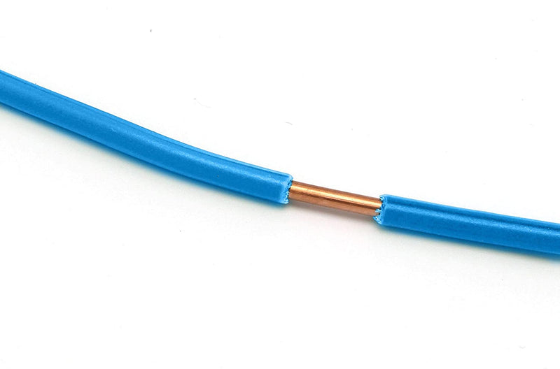 Blue THHN Wire - 10 AWG - 50 Feet - Solid Copper Grounding Wire, Proudly Made in America - Ground Protection Satellite Dish Off-Air TV Signal - UV Jacketed Antenna Electrical Shock