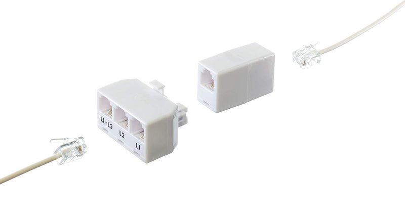Phone Cord Coupler RJ11 | Modular 4 Conductor 2 Line Class | White | One Pack