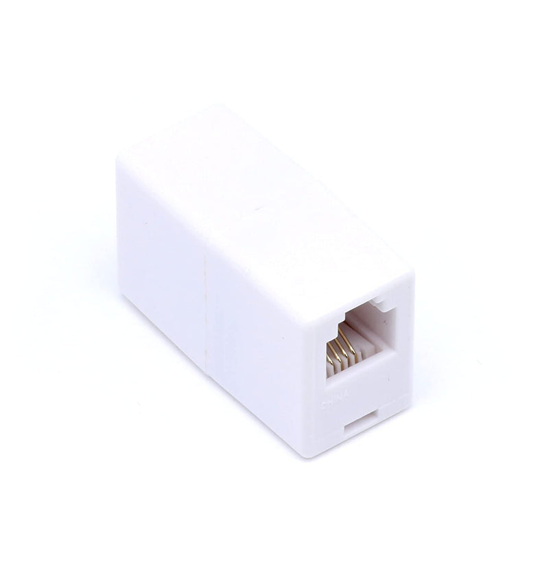 Telephone Cord Coupler - High Quality Phone In Line Coupler - 4 Conductor (2) Telephone Lines - 2 Pack (WHITE)