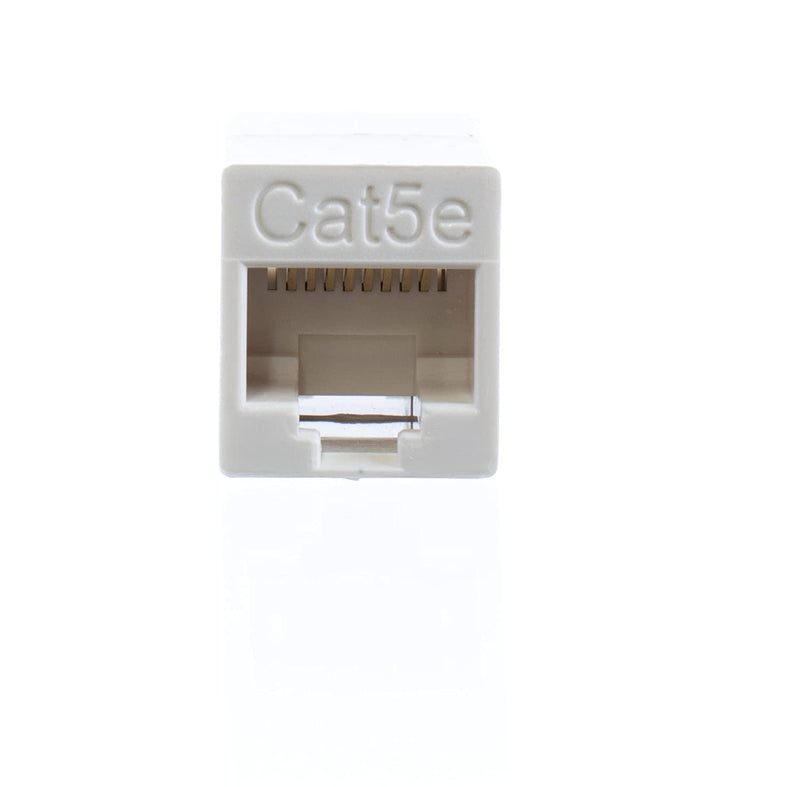 Ethernet Extender and Adapter - RJ45 Ethernet Data Cable f Connector Coupler - 8 Conductor 8p8c 4 Line - (White) - 1 Pack