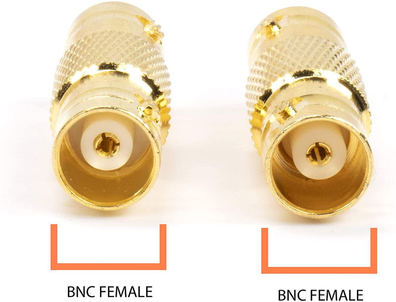 Gold BNC Connectors, Female to Female Coupler - 50 Pack - (Barrel Connector) Adapter for Security Camera CCTV, SDI, HD-SDI