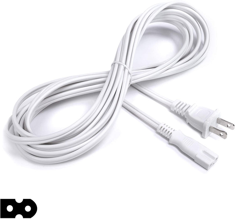 2 Prong Power Cord with Premium Quality Copper Wire Core - Polarized (Square/Round) for Satellite, CATV, Motorola & PS } NEMA 1-15P to C7 / IEC320 - UL Listed - White, 15ft Power Cable