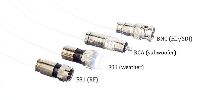 10' Feet, White RG6 Coaxial Cable (Coax Cable) | Made in the USA | F81 / RF