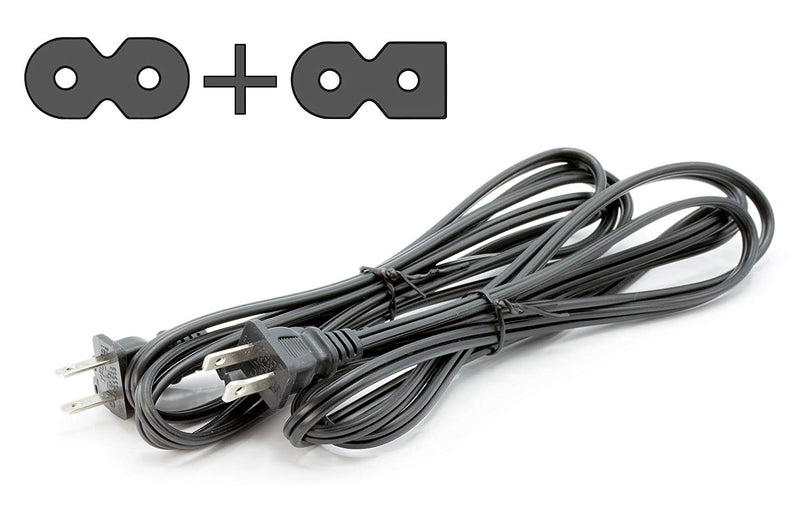 Two Pack of Power Cords - Includes Polarized and Figure 8 - 2 Prong 15ft