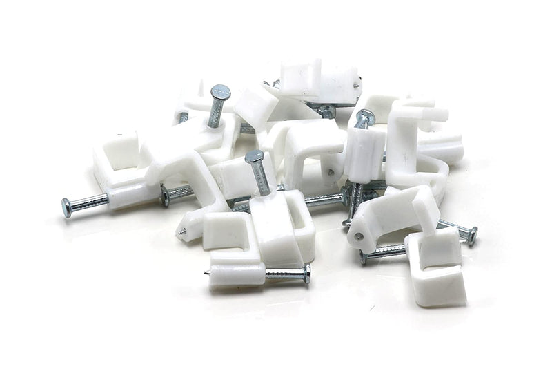 RG6 Dual Coax RG6 Cable Clips – White | 100 Pieces – 14mm Nail Clip | Twin / Two