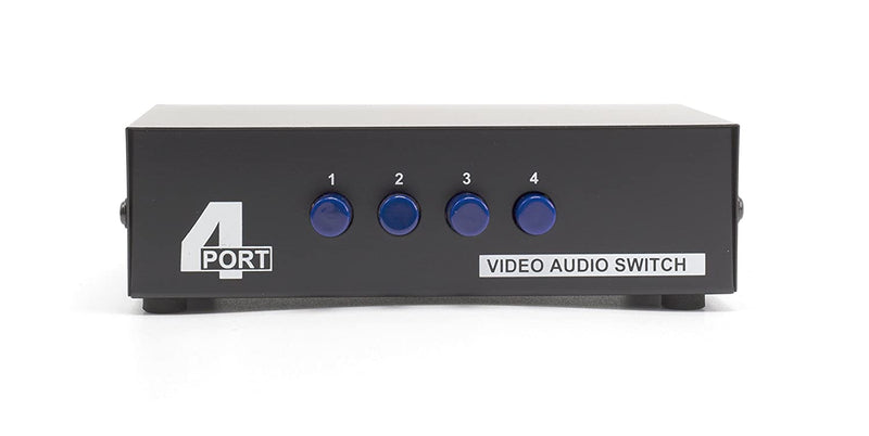 4 Way AV Switch - 4 Input 1 Output RCA Selector Switch for Composite Audio and Video - Switcher Box - Includes RCA Composite Cable (Black)