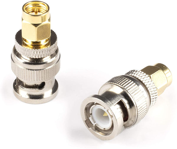 Gold SMA Male to BNC Male Adapter - 1 Pack Coupler - Male to Female Coaxial (RF) Connector, Compatible with RF, SDI, HD-SDI, CCTGV, Camera