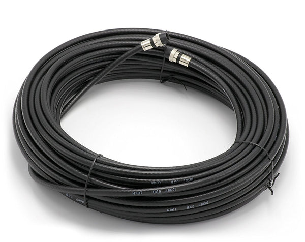 150' Feet, Black RG6 Coaxial Cable (Coax) | With Weather Booted Connectors