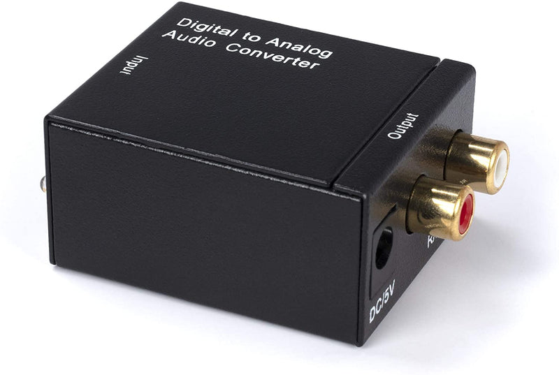 Digital Optical Audio Converter Kit - Digital Optical Coax to Analog RCA Audio Adapter with RCA and Toslink (Fiber) Cable