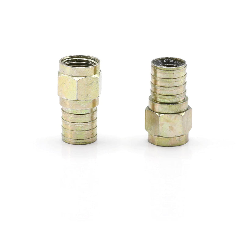 Coaxial Crimp Connector for RG6 Coaxial Cable. Includes O-Ring and Gel for Weather Proofing Seal, Indoor and Outdoor use. Also known as a Radial Compression Connector. Pack of 25