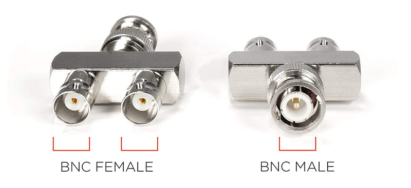 BNC Y Splitter - 2 Output BNC, SDI, HD-SDI, CCTV Splitter - 1 Male Port to 2 Female Ports, Coaxial Cable Extension - 4 Pack