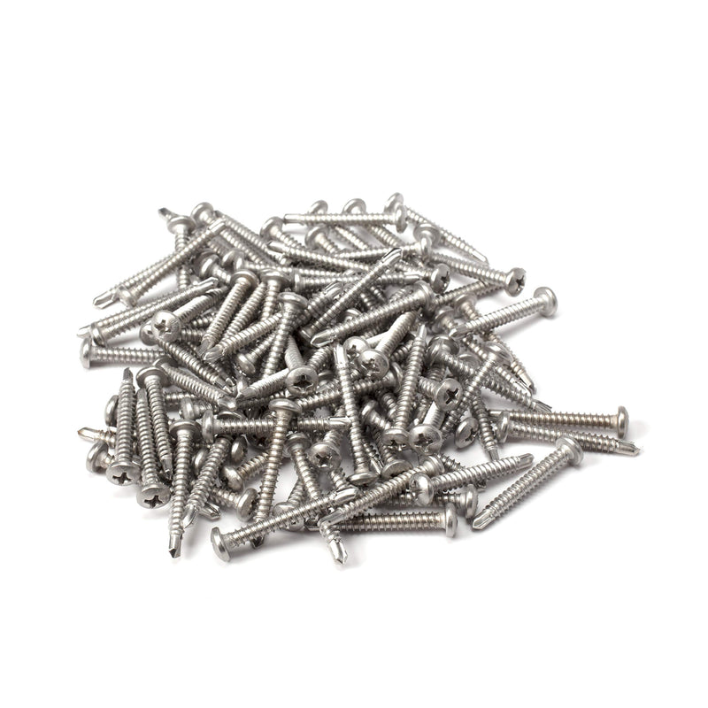 "#8 Size, 1 1/4"" Length (32mm) - Self Tapping Screw - Self Drilling Screw - 410 Stainless Steel Screws = Exceptional Wear and Very Corrosion Resistant) - Phillips Pan Head - 100pcs"