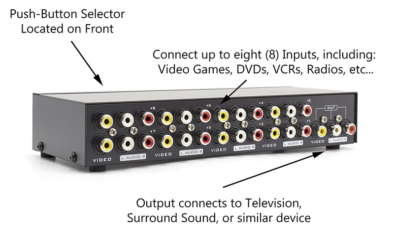 8Way AV Switch - 8 Input 1 Output RCA Selector Switch for Composite Audio and Video - Switcher Box - Includes RCA Composite Cable (Black)