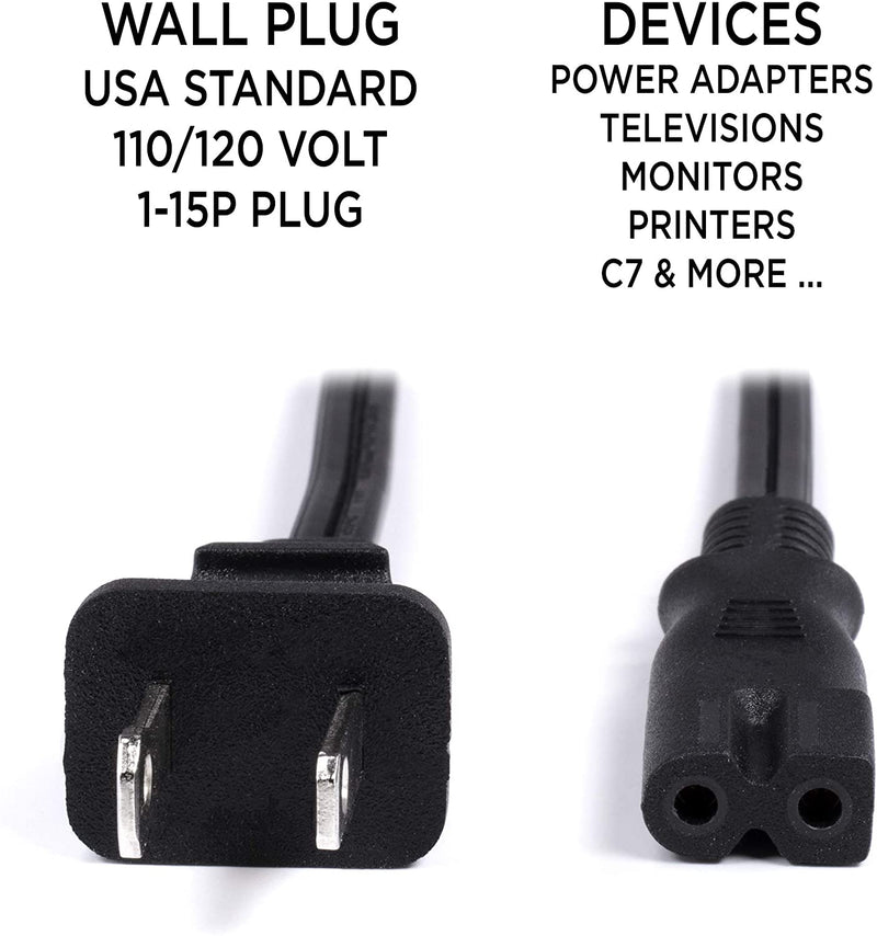 2 Prong Power Cord with Premium Quality Copper Wire Core - Polarized (Square/Round) for Satellite, CATV, Motorola & PS } NEMA 1-15P to C7 / IEC320 - UL Listed - Black, 15ft Power Cable