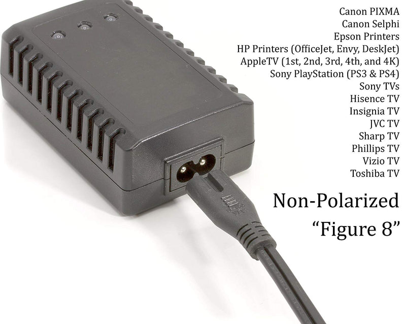 Two Pack of Power Cords - Includes Polarized and Figure 8 - 2 Prong 10ft