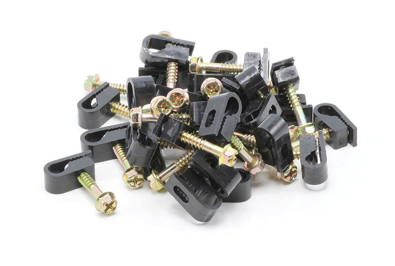 Single Coaxial Cable Clips, Cat6, Electrical Wire Cable Clip, 1/4 in (6 mm) Screw Clip and Fastener, Black (100 pieces per bag)