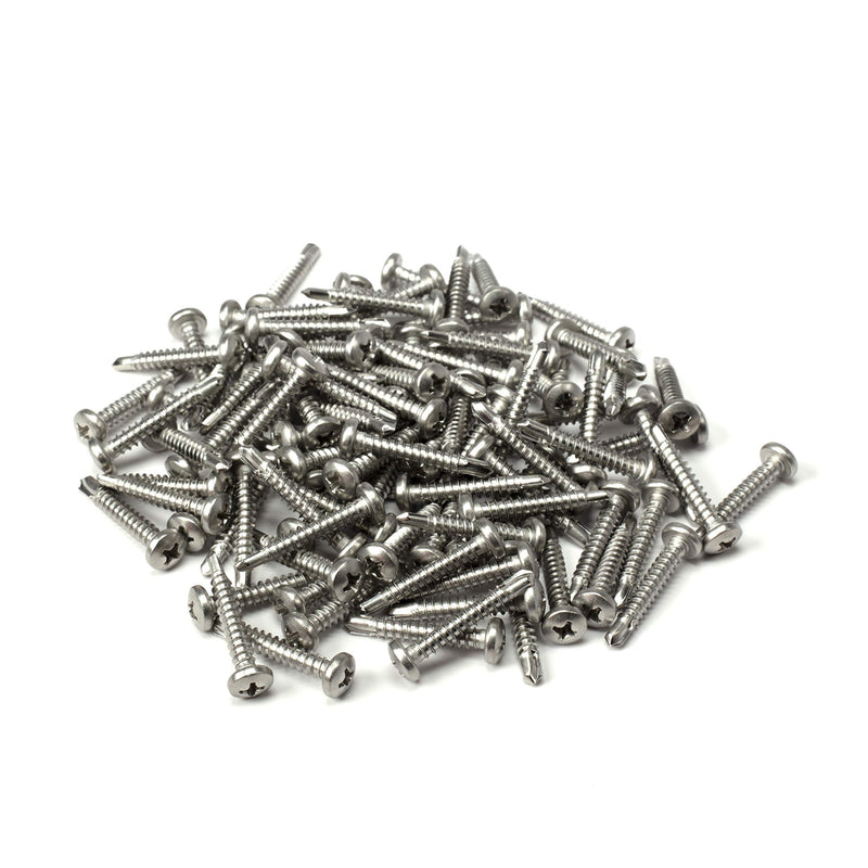 "#8 Size, 1"" Length (25mm) - Self Tapping Screw - Self Drilling Screw - 410 Stainless Steel Screws  Exceptional Wear and Very Corrosion Resistant) - Phillips Pan Head - 100pcs"