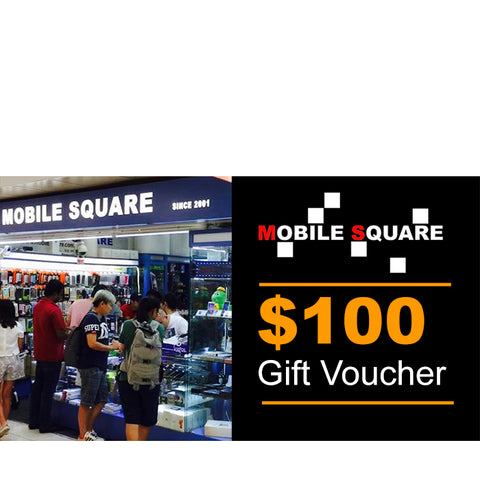 "Mobile Square<br>$100 Gift Voucher<br><div style=""font-size:90%""><font color=""red"">The Perfect Gift Idea!</font></div>"