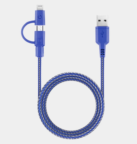 Energea NyloTough Cable<br>1.5m 2-1 MicroUSB/Lightning to USB-C