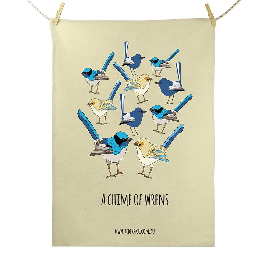 Chime of Wrens Tea Towel