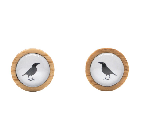 Sustainable Bamboo Studs with Bird Photography