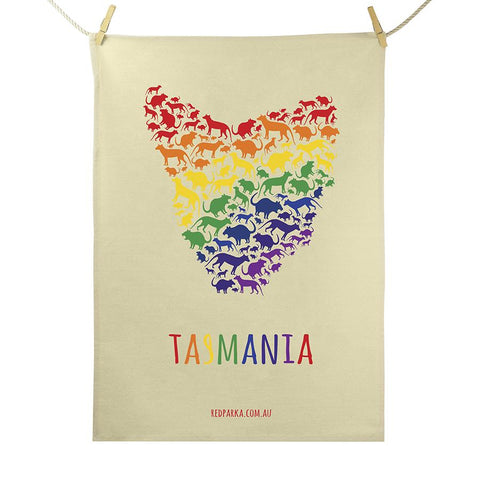 Rainbow Map of Tas Tea Towel