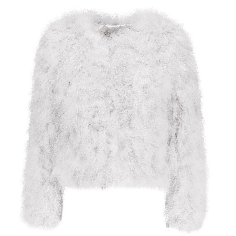 white harper ostrich feather jacket