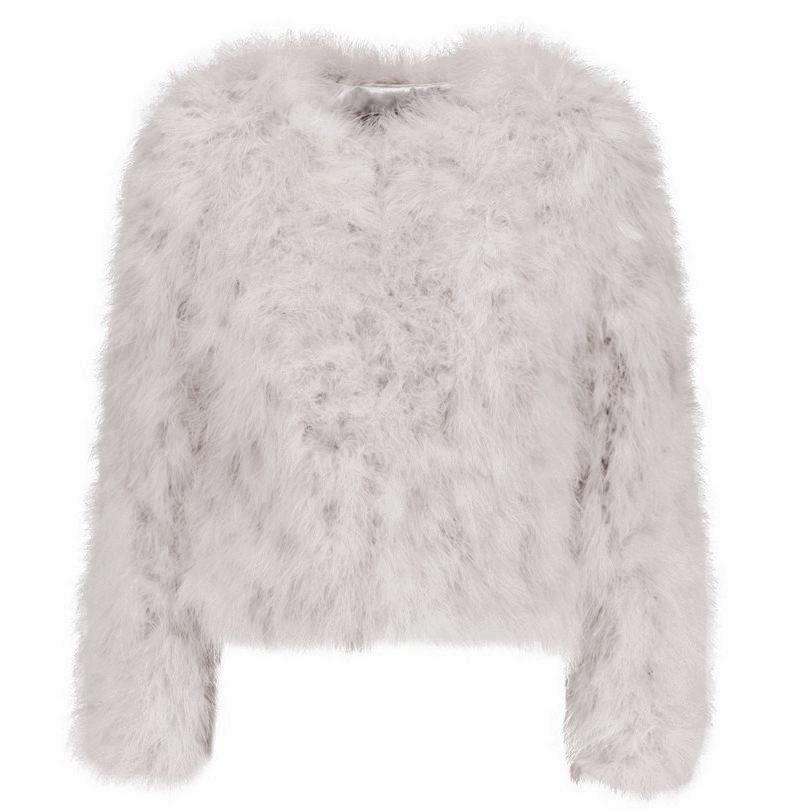 Light Grey Ostrich Feather Jacket