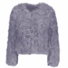Dark grey ostrich feather jacket
