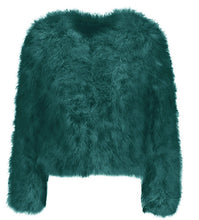 emerald green ostrich feather jacket