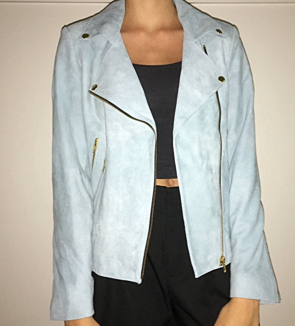 Farrah Suede Jacket - Powder Blue