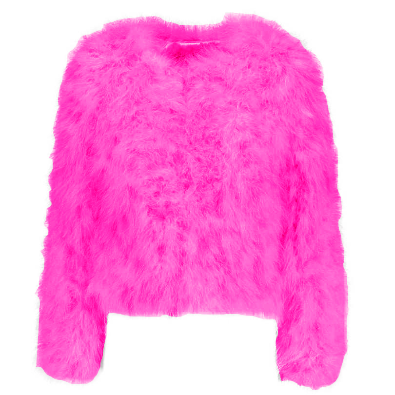 Harper Feather Jacket - Bright Pink