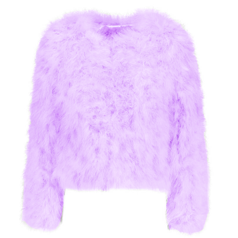 Lavender purple ostrich feather jacket, be bold this winter with this wardrobe stylish staple