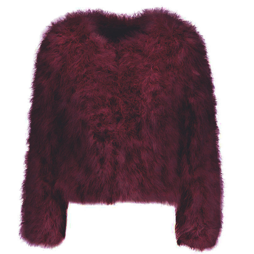 Harper Feather Jacket - Red Wine