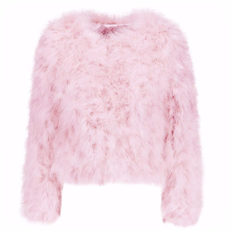 Australian Fashion Label Ostrich Feather Jacket in baby Pink