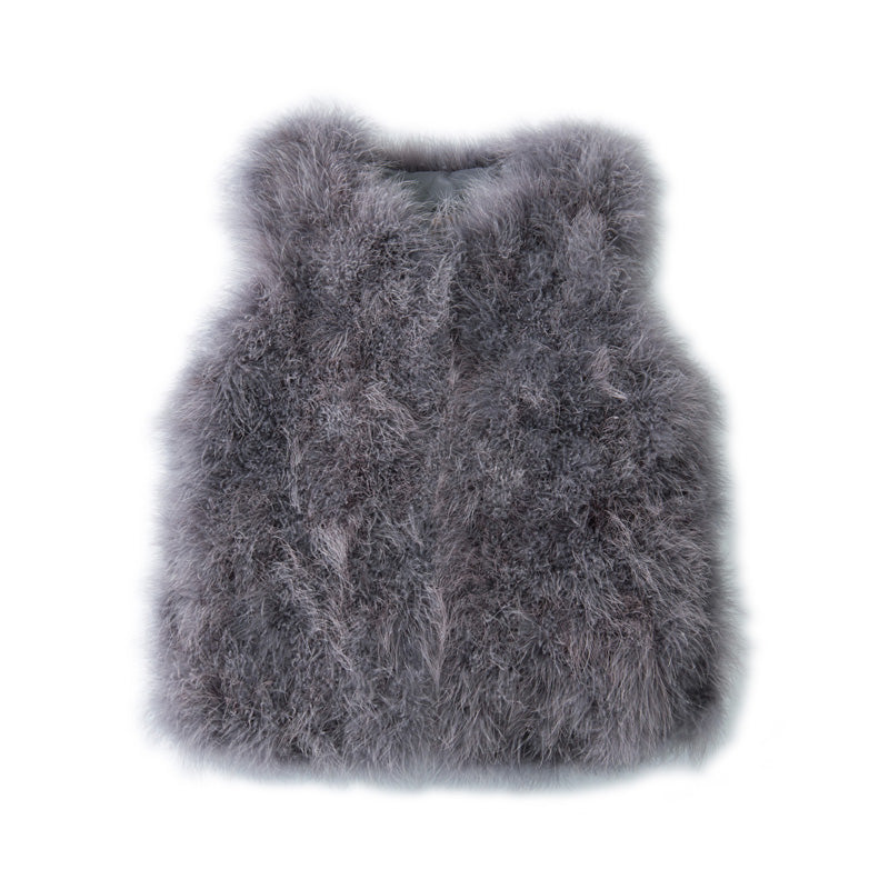 Jade Feather Vest - Steel Grey