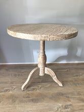 Round White Wash Teak Timber Side Table