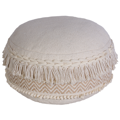 Natural Tassel Pouffe