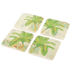 Resin Drink Coaster Set Palm