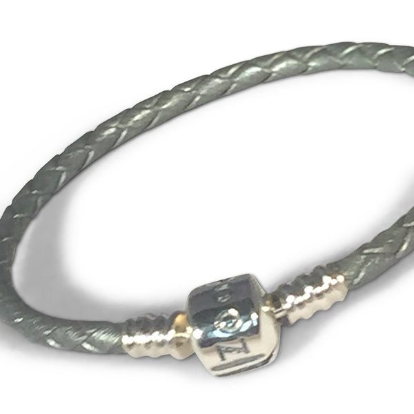 Silver Grey Leather Bracelet bracelet - Zookkie Pty Ltd