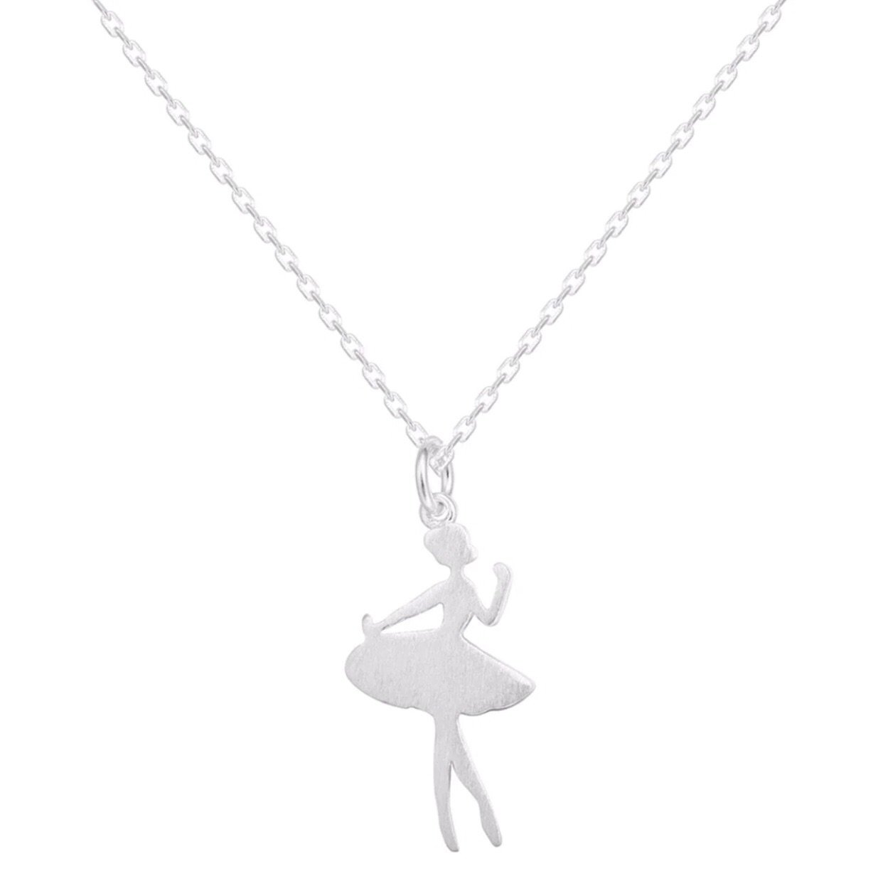Brushed Silver Ballerina Girl Necklace