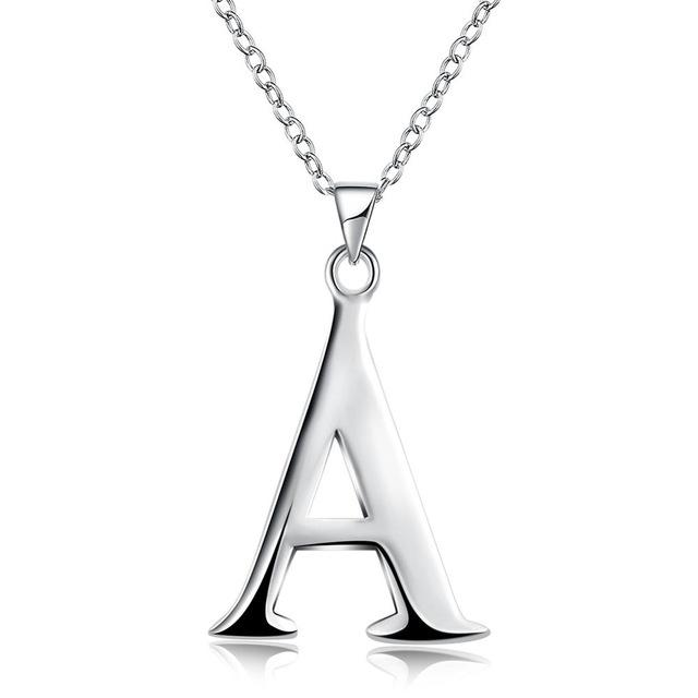 silver plated letter necklace