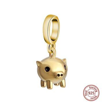 Golden Little Piggy charm - Zookkie Pty Ltd
