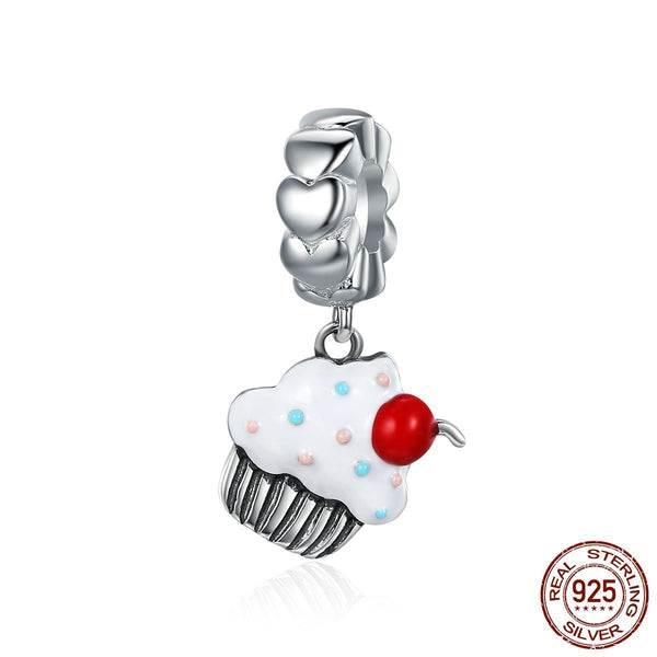 925 sterling silver sweet cupcake dangle