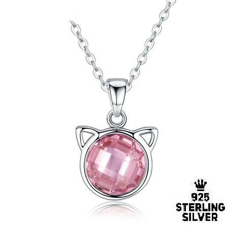 Pink Crystal Cat Pendant