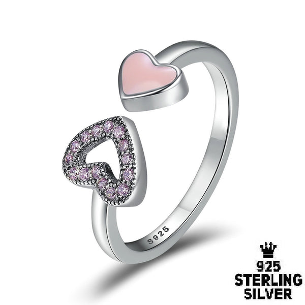 Pink And Purple Love Heart Ring Rings - Zookkie Pty Ltd
