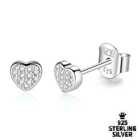 Tiny Pave Heart Stud Earrings