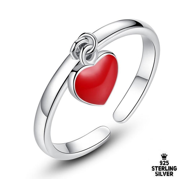 Red Enamel Heart Ring