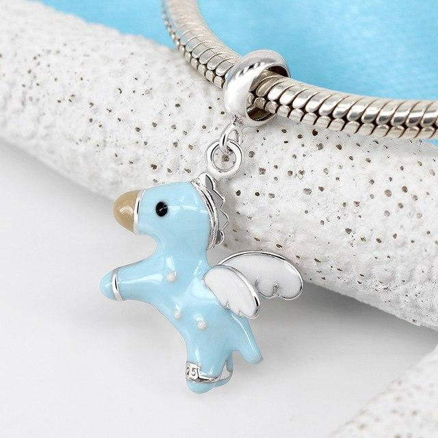 Blue or Pink Enamel Unicorn Charm